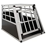 Sam`s Pet Aluminium Hundetransportbox Größe M schwarz/Silber | Alu Auto Transportbox kleine Hunde | Hundebox für PKW Kofferraum