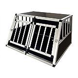 Gegaden Hunde Transport Box mit 2 Türen Alu Hunde Box für den Transport MDF Platten Aluminium Autotransportbox Autobox Hunde Reisebox Gitterbox Welpen Transportbox 89 * 69 * 50cm