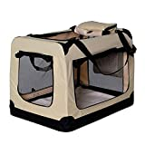 dibea Hundetransportbox Hundetasche Hundebox faltbare Kleintiertasche Größe (XXL) 90x61x65 cm Farbe Beige