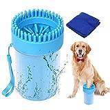 SUPWALL Hundepfotenreiniger mit Handtuch Hundezubehör Haustierpfotenreiniger, Tragbare weiche Silikon-Reinigungsmassagebürste für Hunde und Katzen,2 in 1 Aktualisierte Version