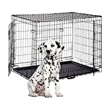 Relaxdays Hundekäfig, Faltbare Hundetransportbox, Welpenkäfig, 2 Türen, Bodenschale, Drahtkäfig Metall, XXXL, Schwarz