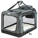ONVAYA® Faltbare Transportbox für Hunde & Katzen   M   Faltbare Hundebox oder Katzenbox für Auto & Zuhause   Farbe grau schwarz