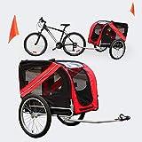 Hunde Fahrradanhänger mit Sicherheitsdrehkupplung, Fliegengitter & Regenschutz, schwarz rot