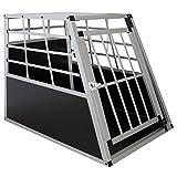 Sam´s Pet Aluminium Hundetransportbox Größe L schwarz/Silber| Alu Auto Transportbox mittlere Hunde | Hundebox für Pkw Kofferraum