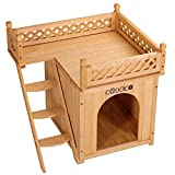 Deuba Katzenhaus Holz zweistöckig Terrasse Indoor Outdoor 64,5x54,5x53,5cm FSC®-Zertifiziert Katzenhütte Katzenhöhle