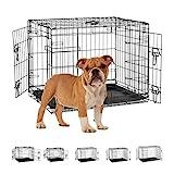 Relaxdays Hundekäfig für zuhause, Büro, Auto Hundebox, faltbar, Stahl Gitterbox mit Wanne, Kennel 59,5x75x53 cm, schwarz