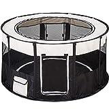 TecTake Welpenlaufstall Tierlaufstall faltbar mit abnehmbarem Boden für Kleintiere wie Hunde, Hasen, Katzen - Diverse Farben - (Schwarz | Nr. 402438)