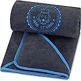 Premium Hundehandtuch extra saugfähig, ultra weich & flauschig, Hunde Handtuch aus leistungsfähiger Mikrofaser mit 4 Eingriffen, bei 60° waschbar, schnell trocknend, 130x75cm (Dunkelgrau-Blau)