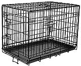 Flamingo Käfig mit 2Türen für Hunde schwarz 63x 43x 49cm