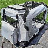 zooprinz Faltbare Hundetransportbox mit sicherem Stahlrohrrahmen - inklusive Kuschelunterlage für deinen Hund - in 5 Größen und 2 Farben (XXL, Grau)