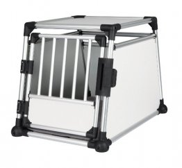 Trixie Hundebox M-L, Trixie Transportbox Aluminium, Front-Seitenansicht mit Artikelnummer und Größe